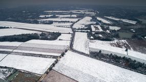 Aerial photography of the snowy scenery of ten thousand mu tea garden in Xuancheng, Anhui Province, China. On December 9, 2018, in Xuancheng, Anhui Province royalty free stock photography