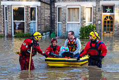 December 2015 York Floods. Swaledale Rescue services evacuating residents from flooded homes in the Huntington Road area of York Royalty Free Stock Photo