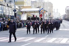 Romania National Day , 1 december 2018. 1 December 2018, Zalau, Romania:Military parade of the national day of Romania royalty free stock image