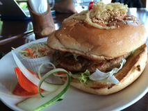 Decent size hamburger, Philippines Royalty Free Stock Image