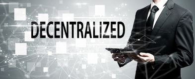 Decentralized with man holding tablet computer Royalty Free Stock Photos