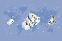 Decentralized Network and Cloud Computing. Professional workers working in the cloud. Network ans world map background. Vector illustration