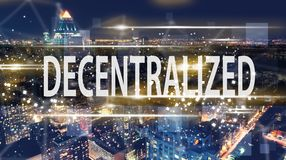 Decentralized with the New York City skyline. At night Royalty Free Stock Photos