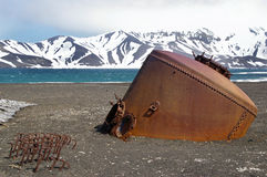 Deception Island Ruins - Antarctica. An old whaling station boiler at Deception Island, an active volcano in the Antarctica area royalty free stock image
