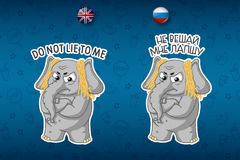 Deception. Noodles on the ears. Dissatisfied. Elephant. Big set of stickers in English and Russian languages. Vector, cartoon Stock Photos