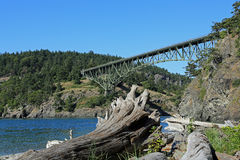Deception Pass Bridge. Beautiful Deception bridge on Whidbey Island in Washington State, USA royalty free stock photography