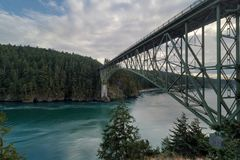 Deception Pass Bridge in Washington State USA. Deception Pass Bridge connecting Whidbey and Fidalgo Island in Washington State Route 20 USA America Royalty Free Stock Photos