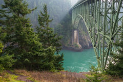 Deception Pass Bridge. Iconic Deception Pass Bridge connects Whidbey and Fidalgo Islands in Washington State stock images