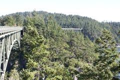 Deception Pass Bridge. Nice view of Deception Pass Bridge, Washington State on July 4th Holiday stock images