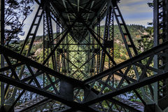 Deception Pass Bridge. Steel supporting structure for Deception Pass bridge 180 feet above the water depending on tide royalty free stock photos