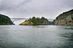 Deception Pass Bridge in Washington State. stock images