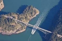 Deception Pass Bridge Whidbey Island. Overhead aerial view of Deception Pass Bridge on Whidbey Island Washington State royalty free stock photos
