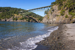 Deception Pass State Park, Washington. The Deception Pass Bridge is a two-lane bridge on Washington State Route 20 connecting Whidbey Island to Fidalgo Island in royalty free stock image