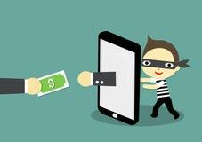 Deceptive businessman. Thief behind smartphone whith hand as businessman and businessmans hand carry money Stock Images