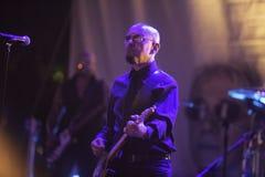 Decibel in concert. VERCELLI, ITALY - JUNE 4, 2017: Italian band Decibel`s singer Enrico Ruggeri in live performance at Kennedy Park in Vercelli stock images