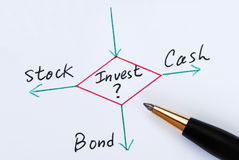 Decida di investire in stock, nelle obbligazioni, o in contanti Immagini Stock