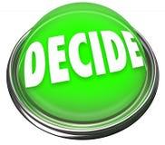 Decida que selección de la palabra elige la luz del botón de la selección de la decisión final stock de ilustración