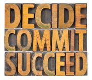 Decide, commit, succeed word abstract Stock Photos