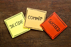 Decide, commit, succeed word abstract Stock Photo
