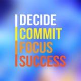 Decide legen Fokuserfolg fest erfolgreiches Zitat mit modernem Hintergrundvektor stock abbildung