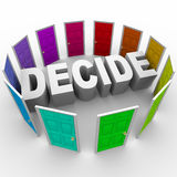 Decide - Word Surrounded by Doors Stock Photo