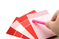 Deciding on a Paint Color using Paint Samples. Horizontal Image Stock Photo