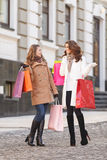 Deciding what else to buy. Full-length image of two young beautiful woman on a shopping spree royalty free stock photography