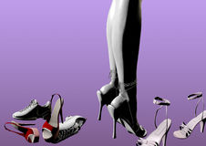 Deciding what shoes to wear. Woman standing in high heels between other shoes, trying to decide which to wear, only her legs are visible, 3D illustration, raster Stock Photo