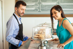 Deciding what to buy in a bakery Royalty Free Stock Photography