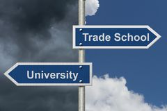 Deciding on whether to go to University or Trade School Stock Photography