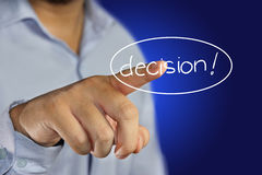 Deciding. Young man pointing his finger to click decision icon on virtual display stock photography