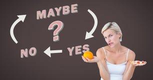 Decidir de pensamento da mulher sobre o alimento saudável ou a escolha insalubre do alimento sim nenhuma text talvez com setas GR Imagem de Stock Royalty Free