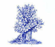 Deciduous bonsai on rock. Black and white drawing. Illustration of a small tree, far-eastern bonsai Stock Photos