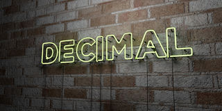 DECIMAL - Glowing Neon Sign on stonework wall - 3D rendered royalty free stock illustration Stock Image