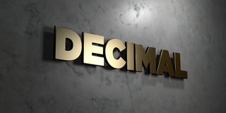 Decimal - Gold sign mounted on glossy marble wall  - 3D rendered royalty free stock illustration Stock Photography