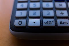 Decimal point key of the keyboard of a scientific calculator. Machine royalty free stock image