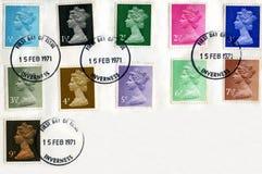 Decimalisation britannico 1971 dei francobolli Immagine Stock Libera da Diritti