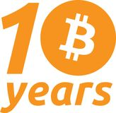 decimo anniversario Bitcoin illustrazione vettoriale