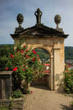 DECIN, CZECH REPUBLIC. Rose gardens in castle park, Decin town, North Bohemia, Czech republic stock images