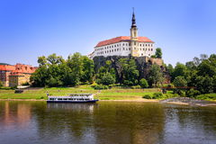Decin, Czech Republic. Tetschen Castle overlooking the Elbe river, Decin, Czech Republic royalty free stock image