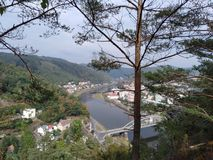 A picturesque view on Laba`s river and the bridge from a hill royalty free stock image