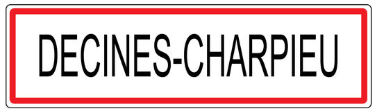 Decines Charpieu city traffic sign illustration in France Royalty Free Stock Photography
