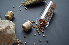 Decirative coils. With gold beads Stock Photography