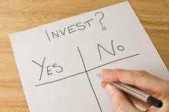 Decisión de inversión Imagen de archivo