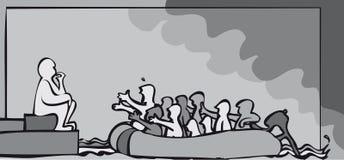 Decisión del refugiado stock de ilustración