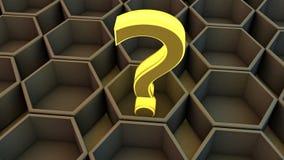 Decisión hexagonal y que pregunta del cubo Imágenes de archivo libres de regalías