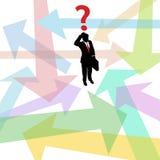 Decisión perdida de las flechas de la pregunta del hombre de negocios stock de ilustración