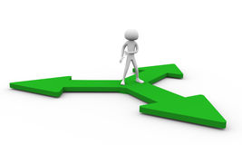 Decision. 3D man standing at the base of 3 arrows for making decision Stock Photo