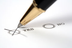 Decision. Make a decision: mark yes or no Royalty Free Stock Photography