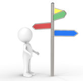 Decision. 3D human standing infront of a Signpost. Internet and Marketing Concept Royalty Free Stock Photography
